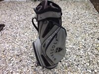 NIKE TROLLEY STYEL CART GOLF BAG SILVER BLACK. 9 POCKETS CARRY HANDLE AND RAIN HOOD. EXCEELENT COND