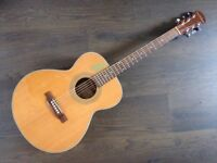Freshman 000 electro acoustic guitar solid top, back and sides rare earth pick up hard case