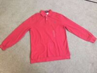 Genuine Mens Long Sleeved Top Polo Shirt - Red - Large - BRAND NEW with tags
