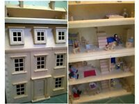 Large Wooden Dolls House - All Furniture and the 7 wooden family figures included