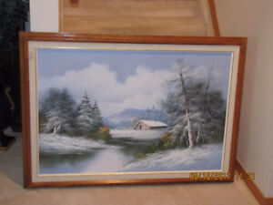 Framed Oil Painting - Mountain Scenery