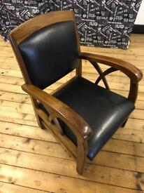 Set of four Black leather chairs