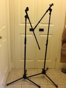 2 mic stands with booms