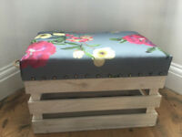 Handmade white crate ottoman/ footstool with storage x 2 available