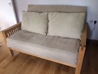 Great solid oak 2 seater Futon, sofa bed by Futon company with mattress and washable cover