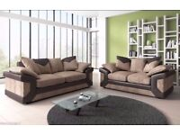 CHEAPEST EVER NEW DINO Italian Cord Fabric CORNER FABRIC SOFA SUITE- Bonded Leather Arm Rests