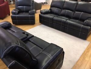 HOMETOWN - BLACK LEATHER LOOK 3PC RECLINING SOFA SET