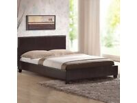 *BRAND NEW* Black Faux Leather Small Double Bed with Mattress - Unopened Packaging