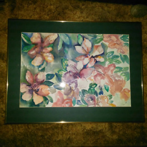 Framed Floral Flowers Water Colour Painting