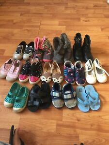 13 pair of toddler girls shoes