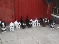 wooden dog and cat planters