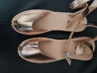 Ladies brand new rose gold espadrilles with ankle strap size 7