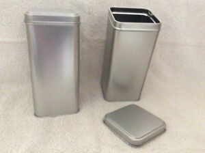 12 SILVER TINS WITH SLIP LIDS