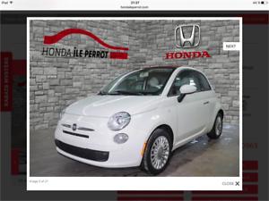 2012 Fiat 500 décapotable FINANCEMENT MAISON 500$ de cash down
