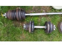 10lbs Bar & Weights + Barbell, Grommet tightened end so no rattle or fall-off