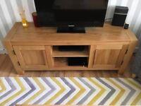 Fresco Natural Solid Oak Large TV Cabinet