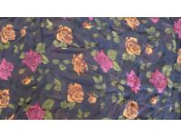 1.65m 100% Black SILK Floral Chiffon with red and orange flowers GORGEOUS
