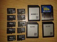 Micro sd memory cards & some random memory cards