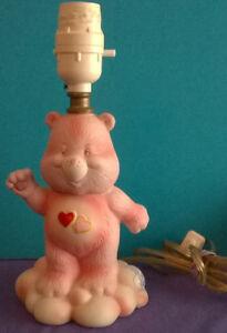 Vintage Care Bears Love-a-lot bear ceramic lamp
