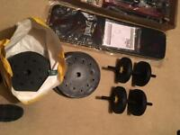 Everlast fold up weights bench brand new plus 50kg of weights