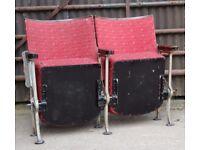 A Pair of Vintage Art Deco C1930s Stylized Cube Designed Cinema Theatre Seats REF107