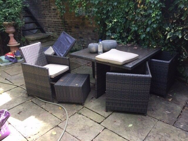 Rattan furniture setsecond handin Lambeth, LondonGumtree - Rattan furniture, good condition but some wear. Cushions have some marks on as they are mostly white. Consists of 1 x square table with 4 chairs and 4 foot stools 2 x arm chairs 1 x bench 1 x chest for cushion storage 1 x rattan topped coffee table