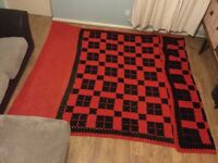Black and Red Crocheted Woolen Throw