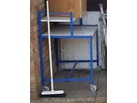 METAL FRAMED COMPUTER DESK TROLLEY TABLE WITH WHEELS, CAN DELIVER TO NORWICH