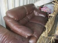 PAIR OF MODERN MATCHING DARK BROWN LEATHER SOFAS. 1X2 SEATER, 1X3 SEATER. VIEW/DELIVERY AVAILABLE