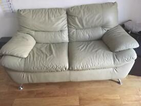 Two seater leather sofa cream, comfortable, in very good condition ,, 2 seater leather sofa
