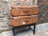 Pair 1940s Large Steamer Suitcases