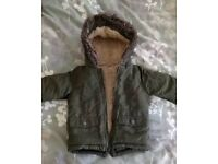 BABY boys green Parker coat 9-12 months