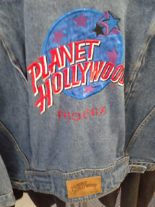 90`S PLANET HOLLYWOOD YOUTH XL-OR SMALL ADULT UNISEX-JEAN JACKET
