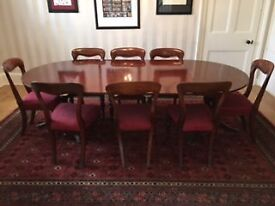 Mahogany Dining Table with set of 10 Victorian Dining Chairs