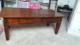 Dark wood rustic coffee table