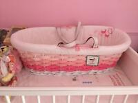 Mothercare pink ombré Moses basket