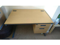 Large Office/School style desk - metal framed wooden construction with 2 drawers
