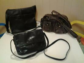 THREE LADIES BAGS .. NEW+UNUSED BROWN LEATHER & 2 BLACK REAL LEATHER