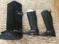 Arias Bromont riding boots and boot carrier
