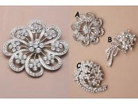 Silver coloured crystal flower brooch. In 3 styles. - JTY212