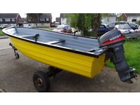 16ft fishing boat mariner 20hp outboard trailer