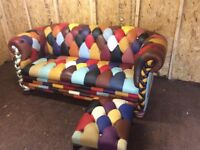 REAL LEATHER CHESTERFIELD SOFA AND STOOL £950 telephone 07749944086