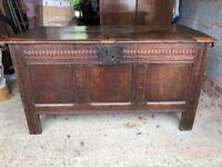 Very old oak blanket chest
