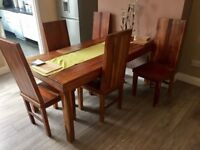 Large solid oak dining table 6 chairs