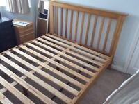 Solid oak king size bed