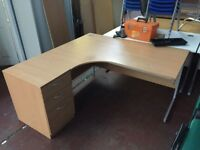 1600 Radial Desk with Pedestal & Chair
