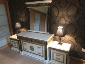 Bedroom furniture, imported Italian 2 bedside units & 3 drawer chest and mirror