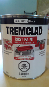 Tremclad Rust Paint Semi-Gloss Black Paint- 1 Liter Can