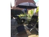 Garden Table/Parasal & Chairs ,Sun lounger