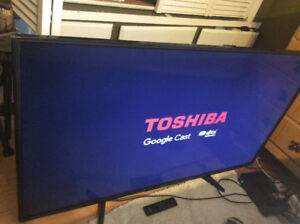 55 inches flat screen tv by Toshiba crome cast